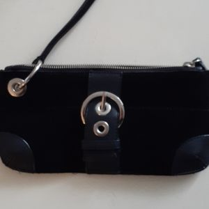 Little Black Suede & Leather wristlet